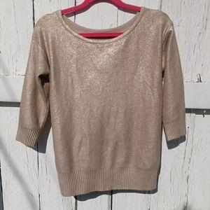 Hinge metallic gold color sweater xs